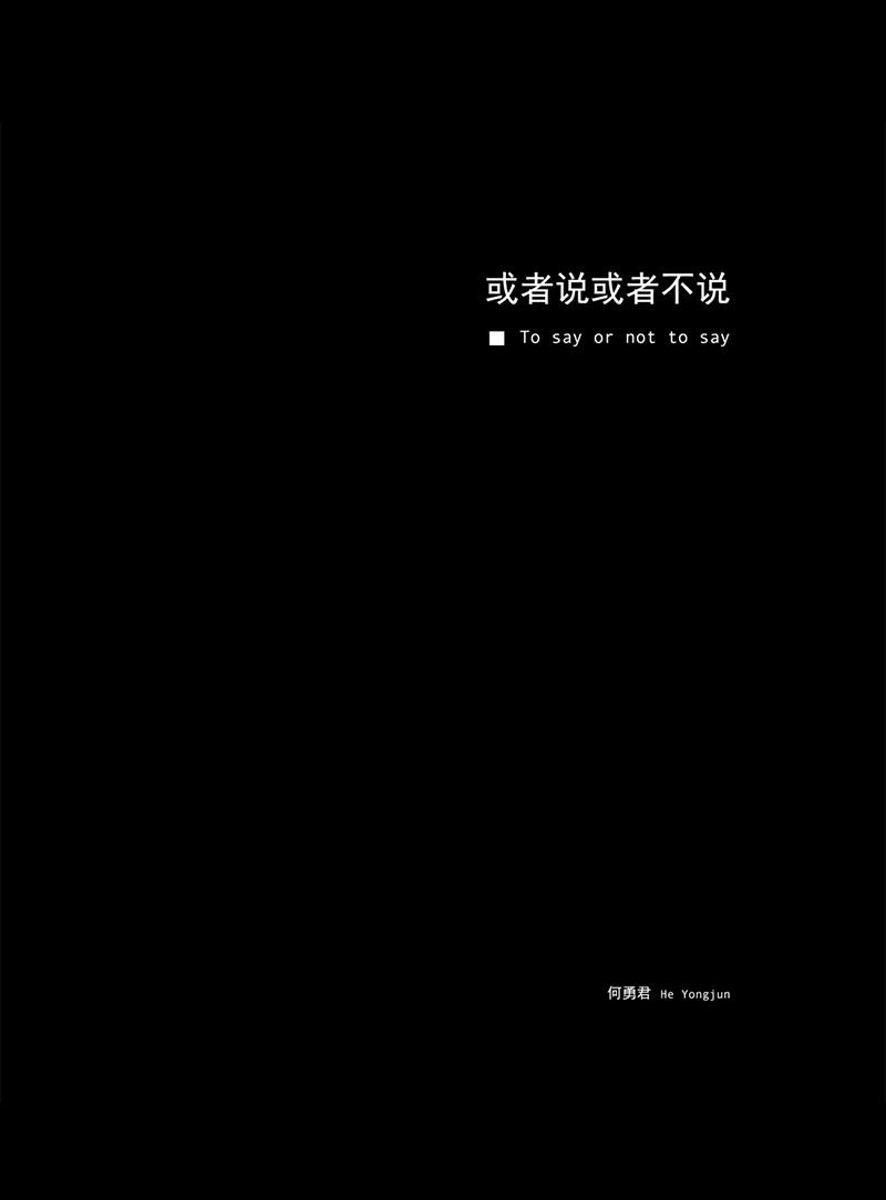 何勇君:或者说或者不说 He Yongjun: To say or not to say